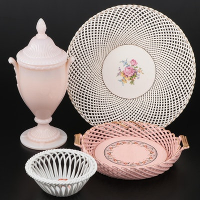 "Herend ""Chinese Bouquet"" Open Weave Basket with Other Table Accessories"