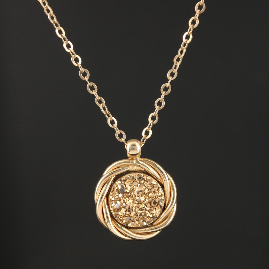 14K Yellow Gold Druzy Pendant Necklace