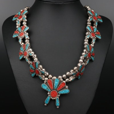 Southwestern Style Sterling Silver Stone Chips in Resin Necklace