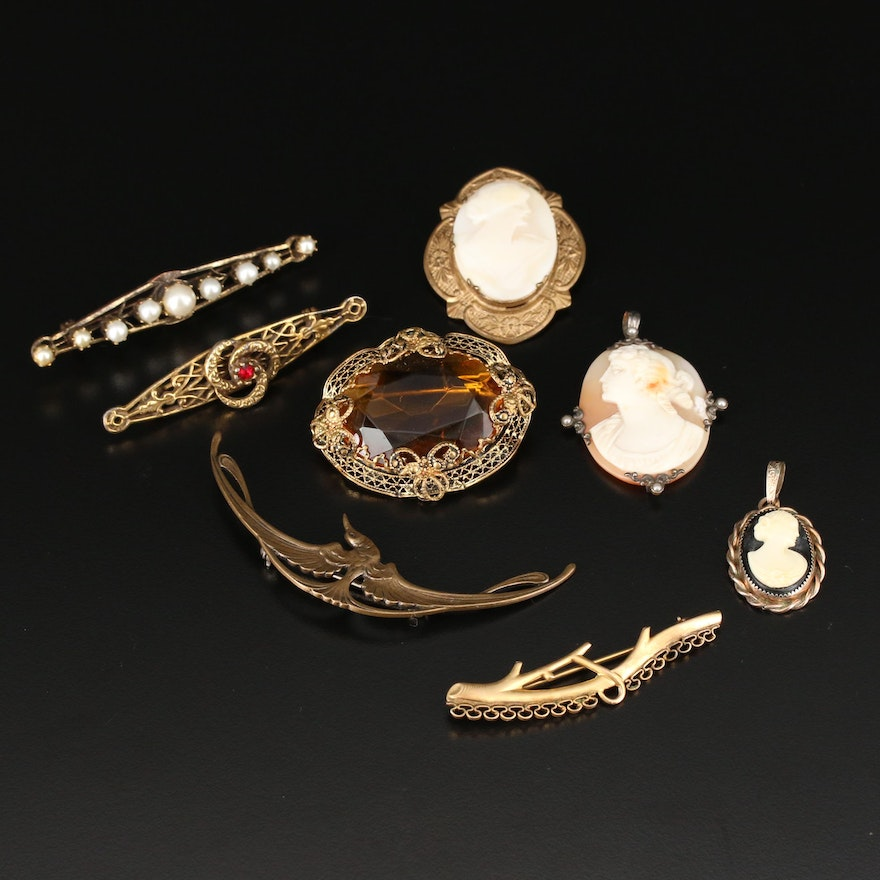 Antique and Vintage Brooches and Pendant Including Forstner