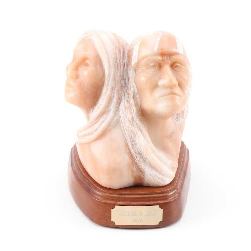 "David Tava Alabaster Sculpture of Native American Busts ""Geronimo and Lozen"""