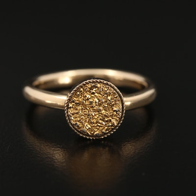 14K Yellow Gold Druzy Ring