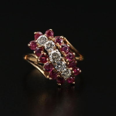 14K Gold Diamond and Ruby Waterfall Ring