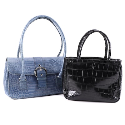 Furla and Talbots Crocodile and Alligator Embossed Leather Handbags