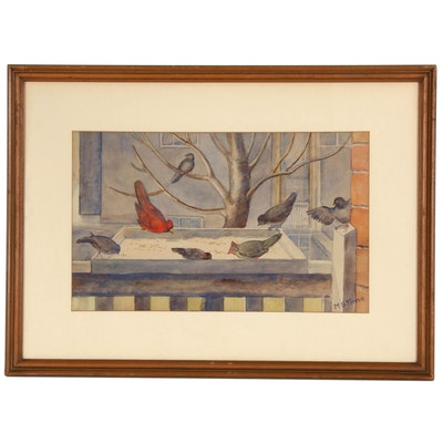 "Margret Stuart Tinne Water Color Painting ""Birds at Feeder"""