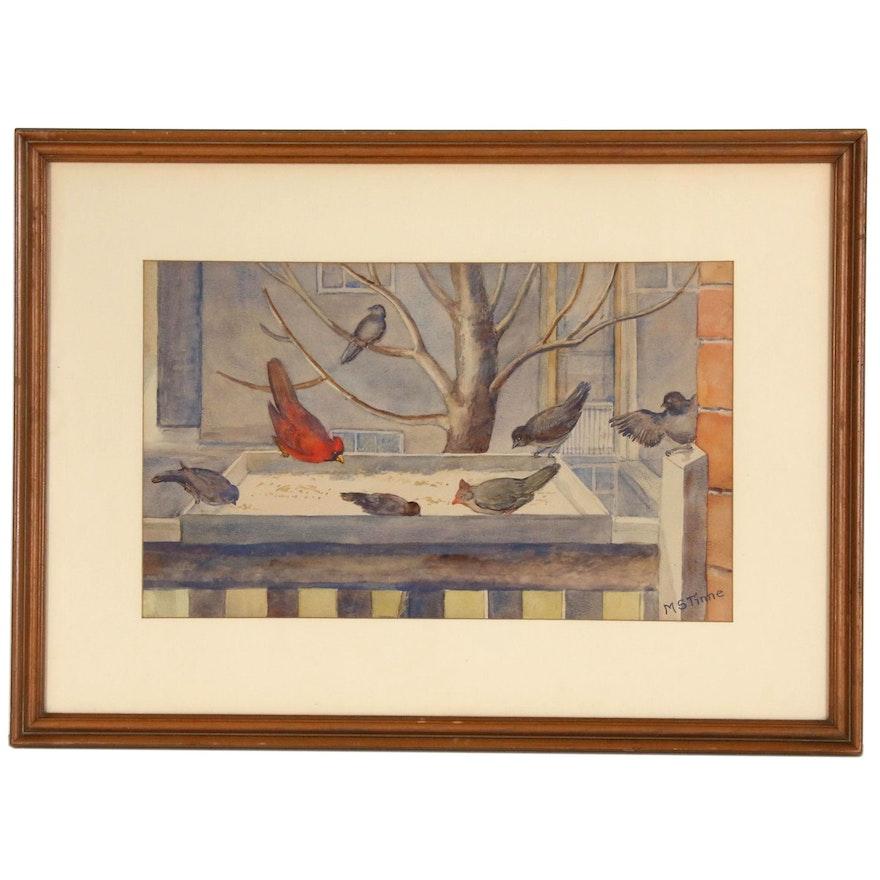 "Margret Stuart Tinne Water Color Painting ""Birds at Feeder"""