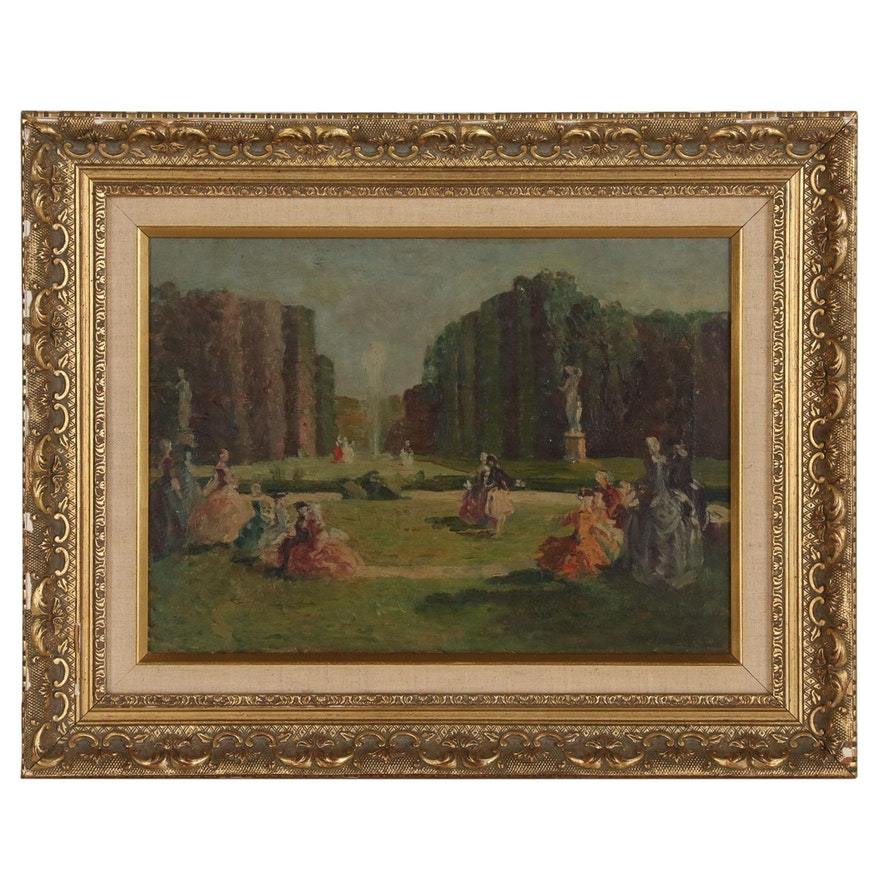 Impressionistic French Garden Scene Oil Painting