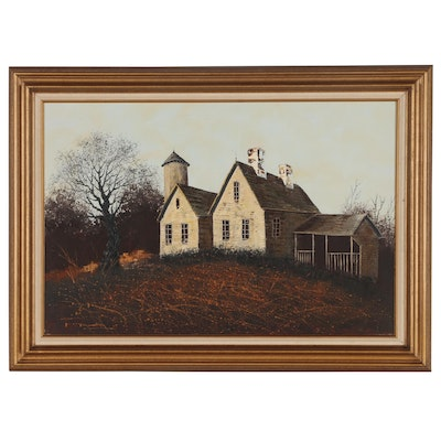 Farmhouse in Landscape Acrylic Painting, Mid to Late 20th Century