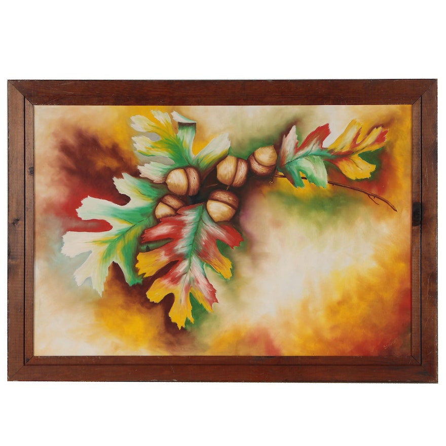 Autumnal Oil Painting of Acorns