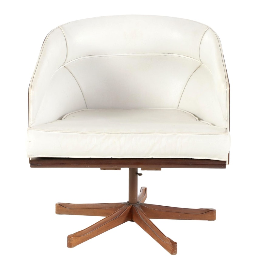 Kodawood Mid Century Modern Laminated Walnut Swivel Lounge Chair
