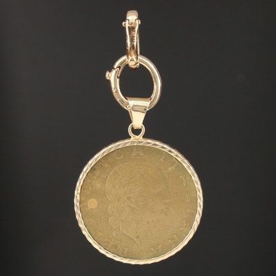14K Gold Pendant with 1995 Italian 200 Lire Coin