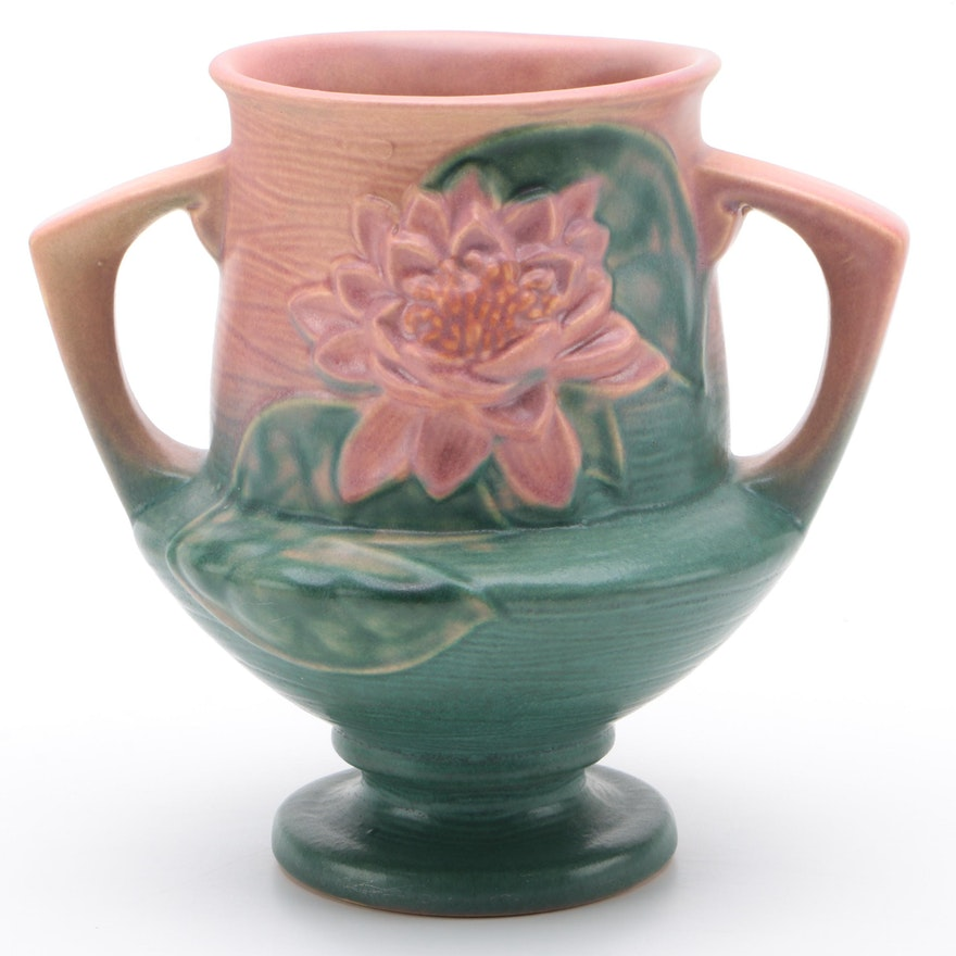 """Roseville Pottery """"Water Lily"""" Earthenware Vase, Mid-20th Century"""