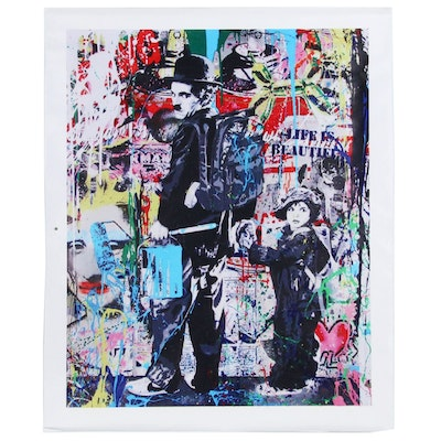 Giclée after Banksy of Charlie Chaplin