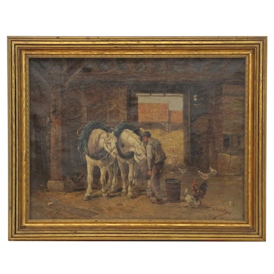 A. Bulguet Stable Scene Oil Painting, 19th Century