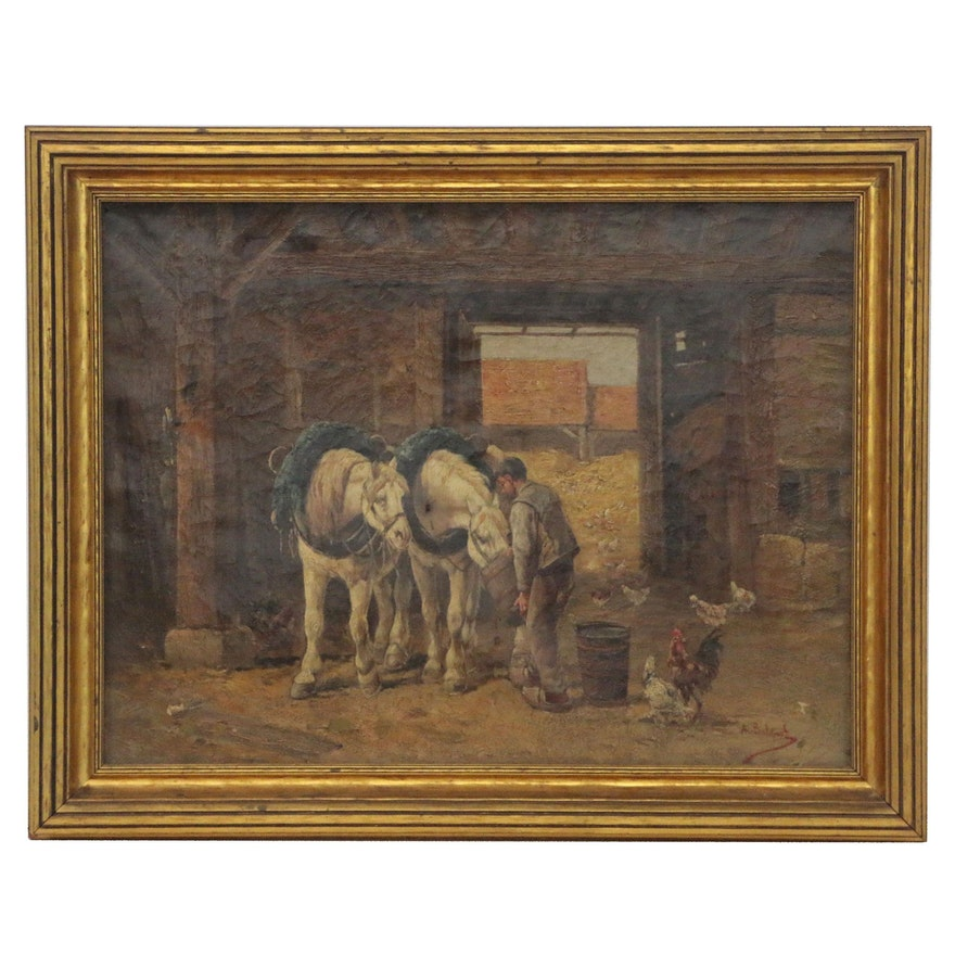 A. Bulguet Stable Scene Oil Painting, 19th Century