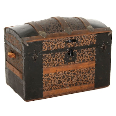 Victorian Wood and Metal Dome Top Steamer Trunk with Lithograph Boxes