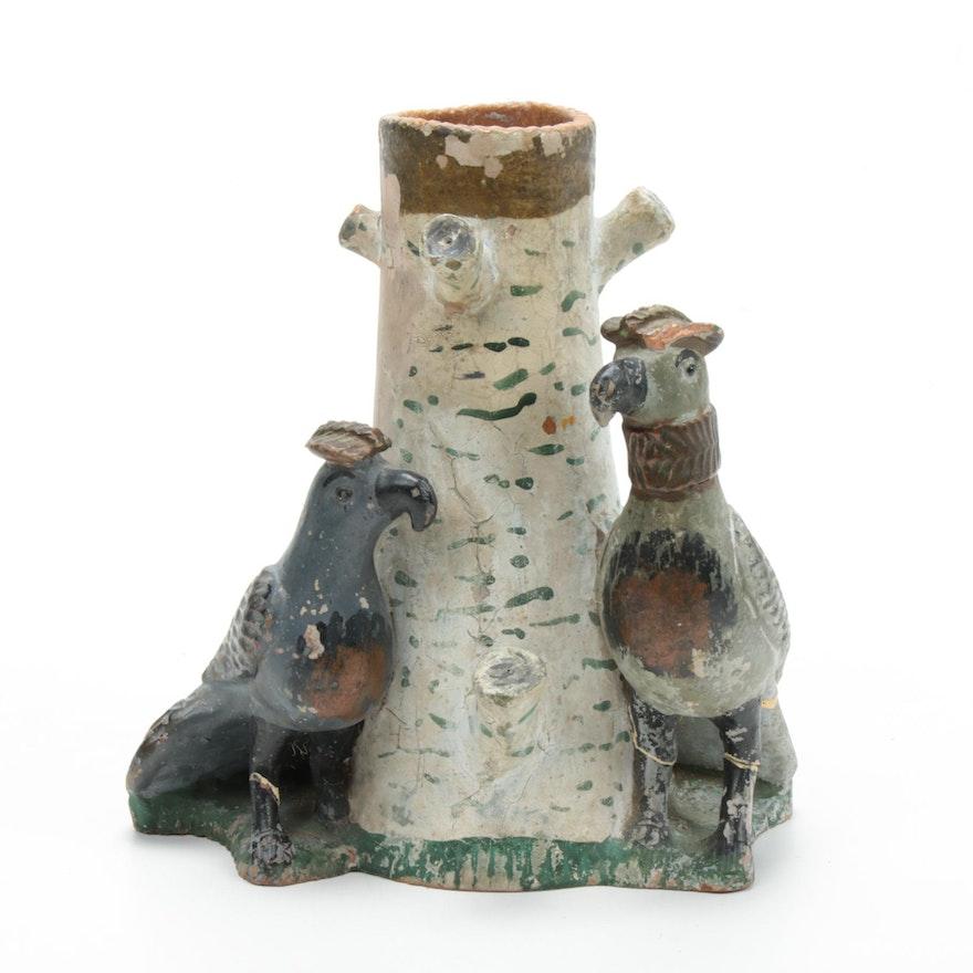 Folk Art Style Ceramic Birds and Tree Stump Vase
