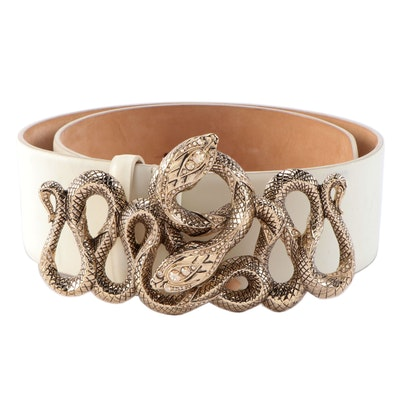 Roberto Cavalli Embellished Serpentine Buckle Off-White Leather Belt