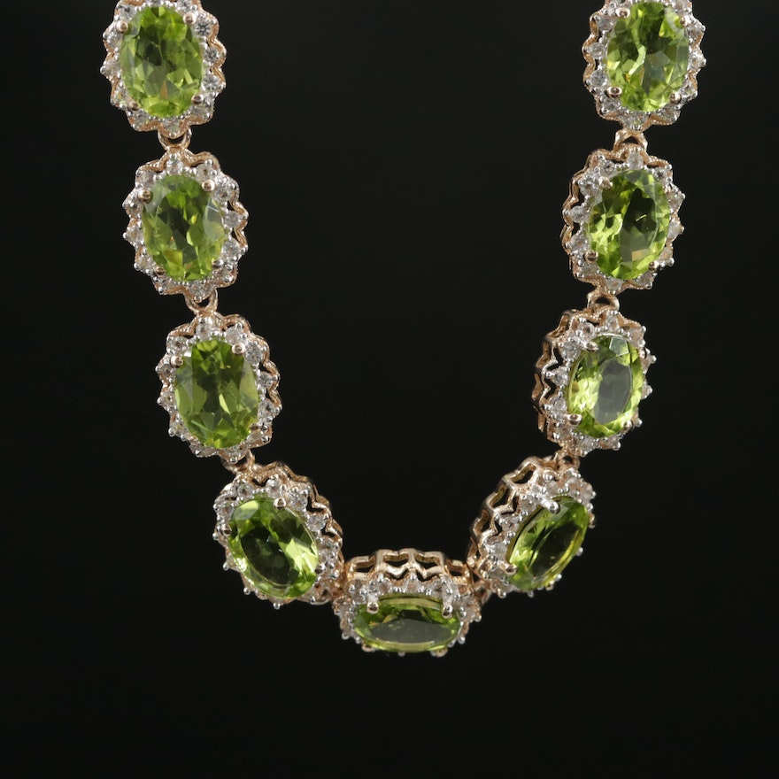 Sterling Silver Peridot and Topaz Necklace