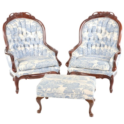 Pair of Victorian Style Mahogany and Toile-Upholstered Armchairs Plus Footstool