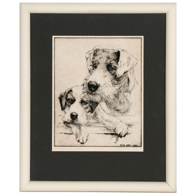 """Edith Derry Wilson Etching """"Last of the Litter"""", 20th Century"""