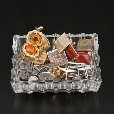 Cufflinks, Tie Bars, Tie Tacks and Money Clip with Glass Trinket Box and 14K