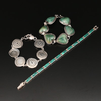 Vintage Sterling Silver and Malachite Link Bracelets