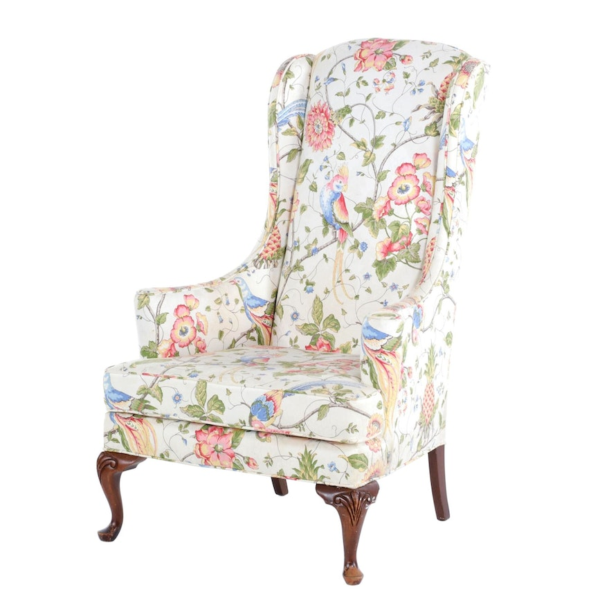 Queen Anne Style Floral-Upholstered Wingback Armchair
