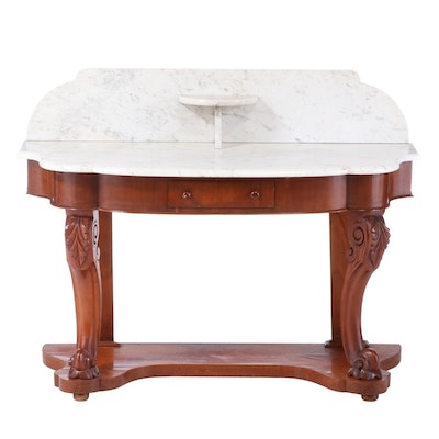 Early Victorian Mahogany and White Marble Washstand, Mid-19th Century