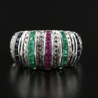 Sterling Silver Emerald, Ruby, Sapphire, and Diamond Ring