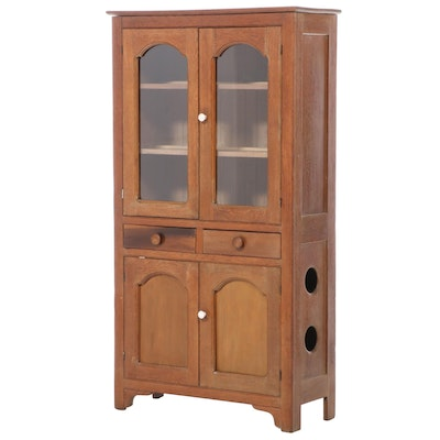 American Primitive Oak and Poplar Pie Safe Cupboard, circa 1900
