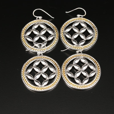 Sterling Silver Openwork Medallion Earrings