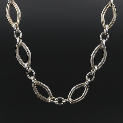 Charles Krypell Sterling Silver Chain Necklace with 14K Gold Accents