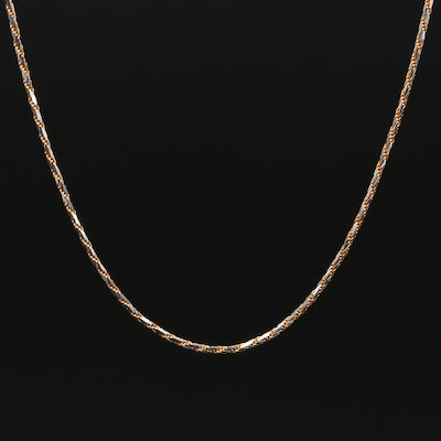 Aurafin 14K Two-Tone Gold Fancy Link Chain Necklace