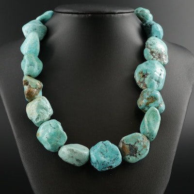 Beaded Turquoise Necklace With Sterling Silver Clasp