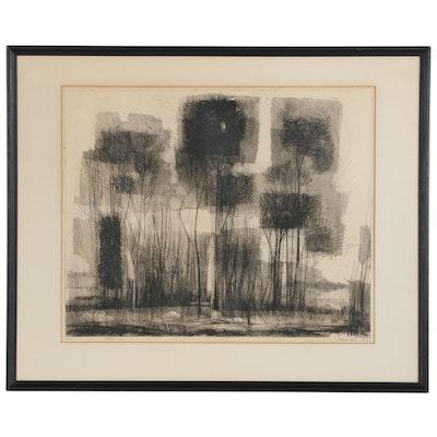 "Mario Abis Etching ""Poplars"" 1959"