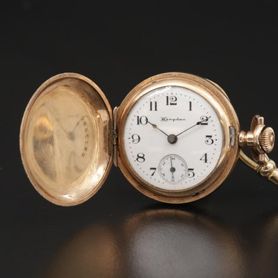Hampden Gold Filled Hunting Case Pocket Watch With Chain Fob, Antique