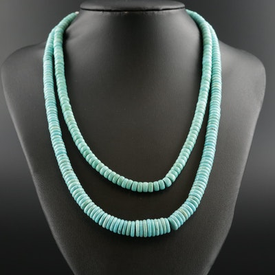 Southwestern Style Sterling Silver Beaded Turquoise Necklaces