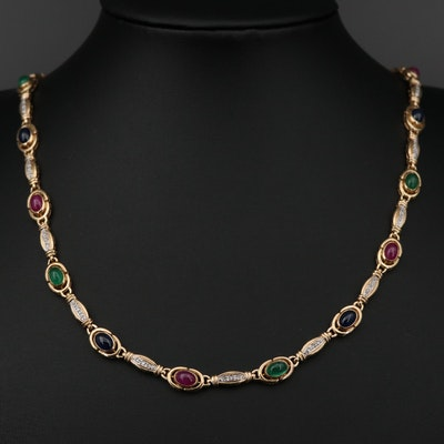 14K Gold Diamond, Sapphire, Ruby and Emerald Necklace