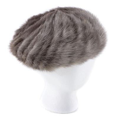Gray Corded Mink Fur Beret, Vintage