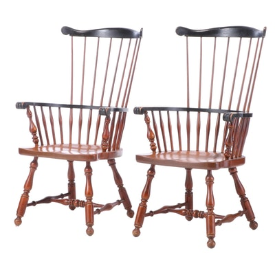 Pair of American Colonial Style Parcel-Ebonized Comb-Back Windsor Armchairs