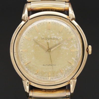 Movado 14K Gold Automatic Wristwatch, Vintage