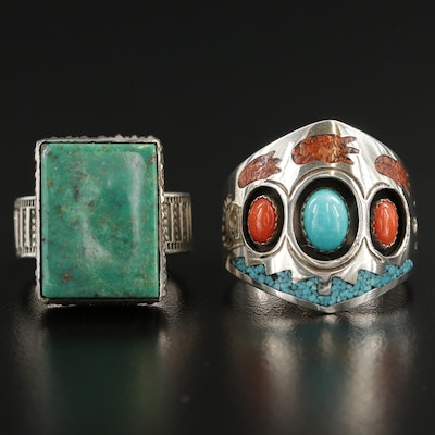 Circle J.W. Southwestern Style Sterling Rings Featuring Coral and Turquoise