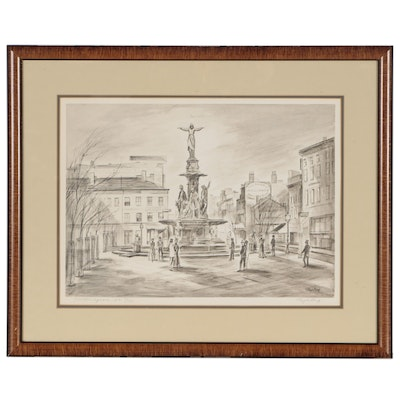 "Floyd Berg Offset Lithograph ""Fountain Square 1871"""