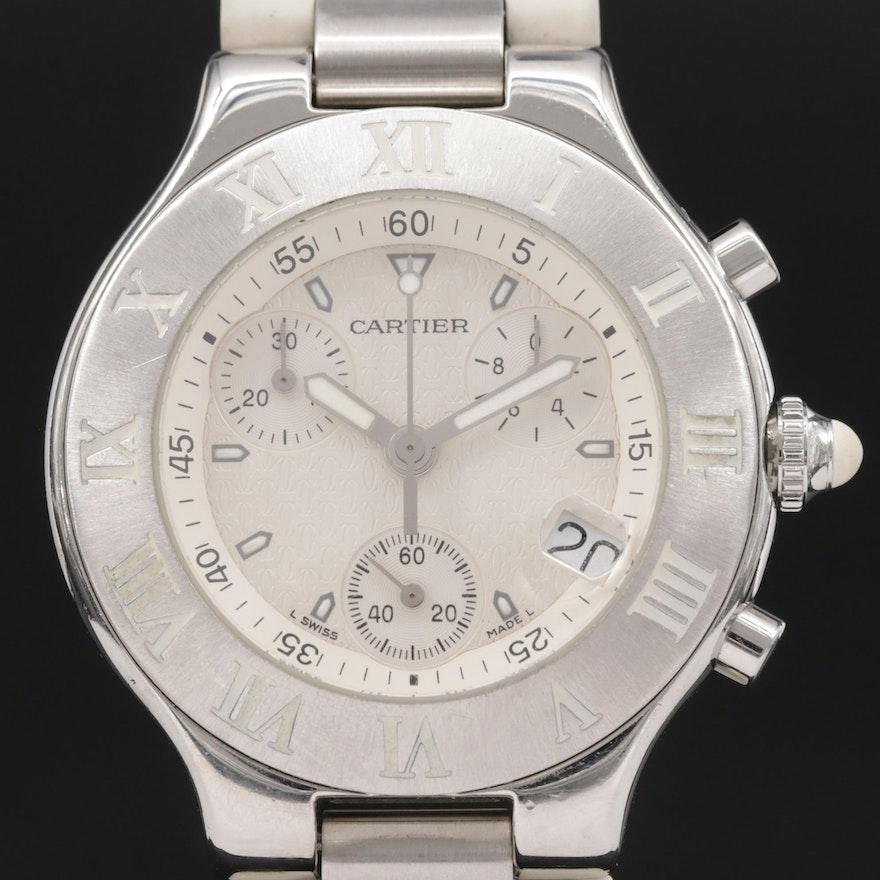 Cartier 21 Chronoscaph Stainless Steel Quartz Wristwatch