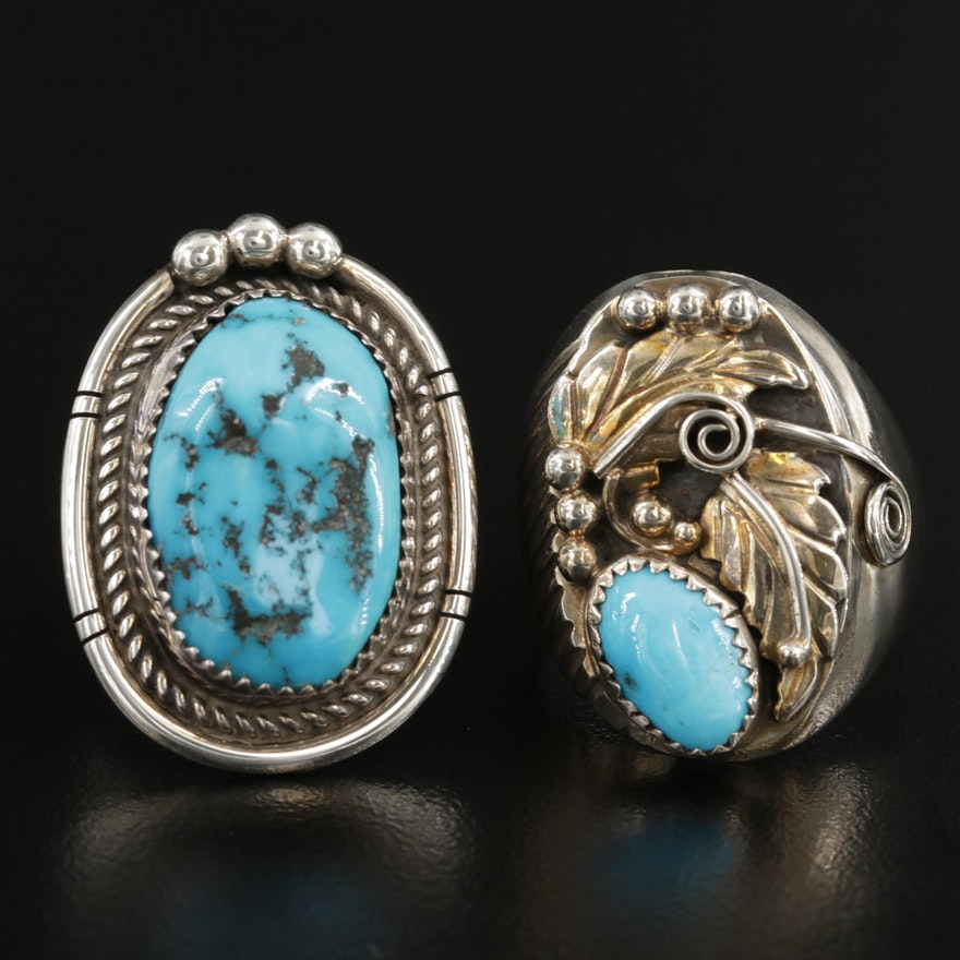 Southwestern Style Sterling Silver Turquoise Rings