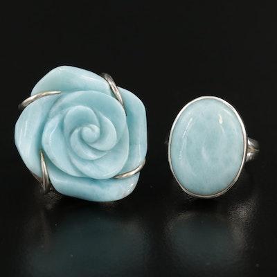 Sterling Silver Larimar Rings Including Floral Designed Ring