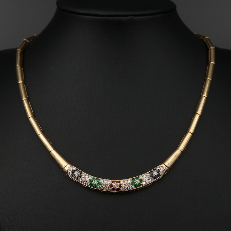 18K Yellow Gold 1.29 CTW Diamond and Gemstone Necklace
