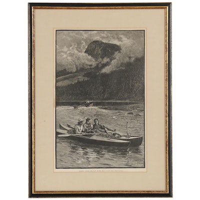 "Henry Farny Etching ""Cruising Canoes - The Last Match"""