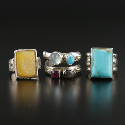Southwestern Style Sterling Rings Featuring Turquoise and Gemstone Accents
